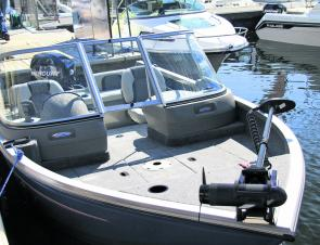 Mounted on the bow is an electric motor for stealth fishing in quiet bays and estuaries. New model deliveries will have a mounting bracket as standard. (Image courtesy of Dominic Wiseman)