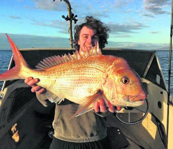 Ben Broomfield has got in nice and early catching this red off Mt Martha. There'll be plenty more of that to come entering spring and the spawning run.
