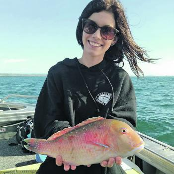 Maddy Burch with one of many Venus tuskfish caught on a Samaki Choona micro-jig.
