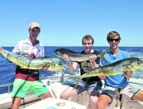 A rogue longline float produced these 3 mahi mahi, although the marlin proved scarce on this particular day.