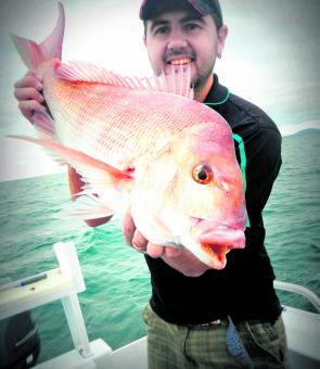 The author with a nice offshore snapper of around 4kg. This has been the average sized lately. It was caught on fresh salmon fillet.