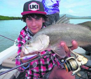 There are still some decent barra about. Check this little beauty Luke Vella caught on one of his favourite lures, an X-Rap.