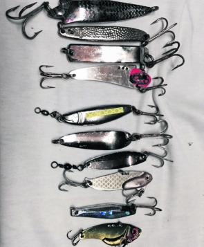 It pays to have a variety of styles and sizes of chrome lures but they should all have some flash to attract attention.