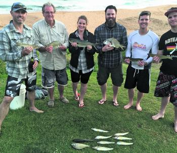 From left to right John Fazekas, Peter Wood, Sharleen Fazekas, Mitch Wood, Keanen Wood and Heath Lindsey. Their collective catch included whiting to 36cm, bream to 38cm, sand mullet to 40cm and a cracker 2kg. Expect a mix of species while out fishing for