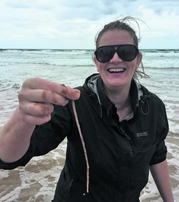 Sharleen Fazekas with her first beach worm!