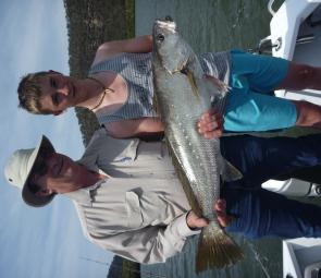 Ross and son Alex Tubnor had a ball landing two nice mulloway to 8.5kg on live bait at Wisemans Ferry.