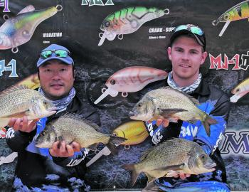 Tom McIntosh and Charlie Saykao display some of the quality fish from their Day One bag that anchored their victory.