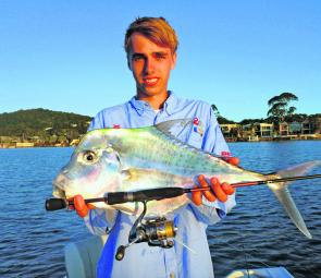 A lovely 65cm diamond trevally, caught on a Fish Arrow Soft Plastic and Nordic Stage rod loaded with 3lb braid.