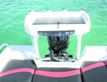 The transom also has plenty of storage as well as a live bait tank.