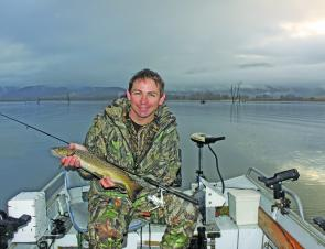 Sandy Hector with a nice Khancoban brown trout.