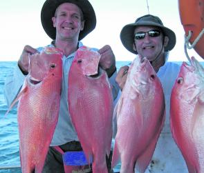 Plenty of quality scarlet perch have been caught lately. These happy blokes caught this nice haul on the Keely Rose.