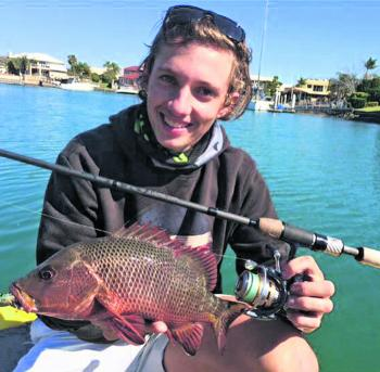 Jesse Gough with a Mangrove Jack caught as by-catch while chasing Bream!
