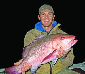 Dale Norton from Tweed caught this fine red bass offshore, he first mistook it for a massive mangrove jack.