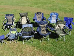 The full line up of Oztrail chairs: (back row, left to right) the Director's Jumbo, Nomad, Regal Lumbar, Deluxe Jumbo, Promo, (front row, left to right), Quad Stool, Deluxe Armchair Junior, ProMesh Chair, Executive, and the Deluxe.