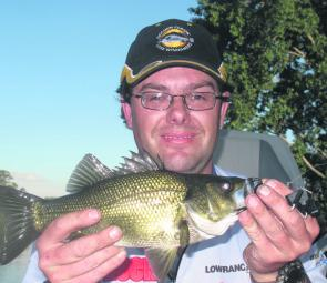 Ross Corner with a healthy upper Hawkesbury River bass that attacked a black buzzbait.