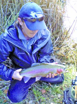 Some of the rainbows in the rivers are still in full spawning regalia and should be returned to the water to go on their way upstream.