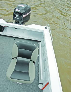 Side and aft storage spaces are useful in a fishing craft such as this.