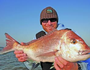 Gawaine Blake of Think Big Charters with a typical Corinella snapper.