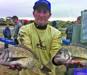 Vyak comp winner Matt Petrie with two of his three fish bag from the Patterson River canals.