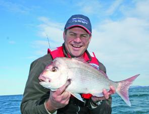 "The author with a lovely snapper caught fairly close to Lighthouse Beach on a 5"" Gulp Jerk Shad."