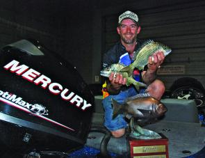Steve Eldred with two of the fish from his 2.96kg final day bag.