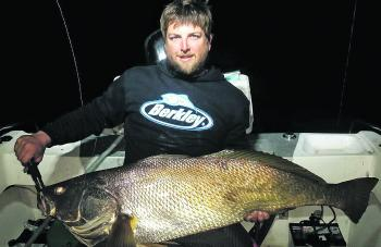 Rhys landed this solid black jewfish fishing at night recently.