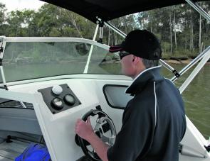 Whether standing to drive or seated, visibility at the helm is excellent.