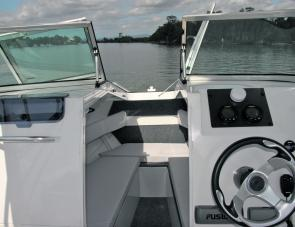 Anchor well access is made easy by the opening windscreen and forward hatch.
