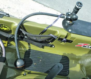 The Flexible Arm Mount allows the Deeper to be swung back into the kayak when not in use.