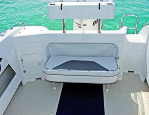The 585's rear bench is well constructed unit that tucks flat against the transom for additional fishing room.