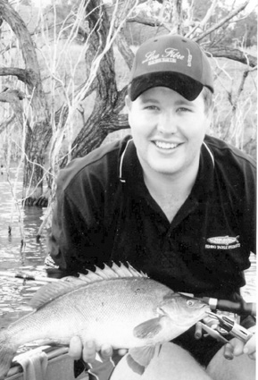 The author with a 52cm silver perch which attacked a Stroke pro rattling crankbait.