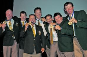 The Australia Gold team: From left, Craig Coltman, Joe Riley, Steve Seclier, Danny Spelic, Emilio Caggiano, Craig Carey, Chris Bassano. Images: Jane Vincent