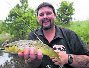 A nice brown trout caught recently on a 40mm Metalhead soft plastic in one of the tributaries of the Kiewa River.