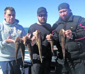 Clients of Magnet Fishing Charters display a good feed of flathead from the western shores of Port Phillip.