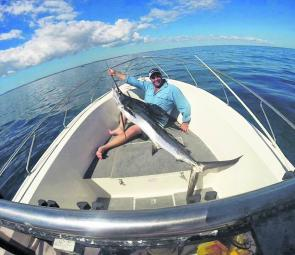 Craig Martin with his first sailfish caught recently at Rooneys.