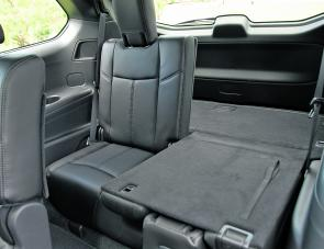 With one third rear seat upright there's a lot of luggage room still available in the rear of the Pathfinder.