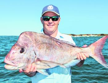 If you're heading offshore, it's all about snapper this month. Luke Cameron nailed this big brute, which looked to be pushing 20lb on the old scale!