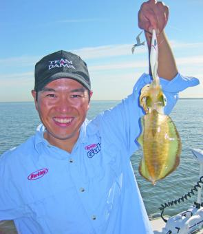 Grayson Fong enjoys this time of the year. Why wouldn't he with squid of this quality getting around in good numbers.