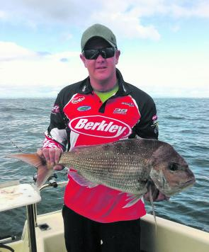 Fishing at anchor in 16m of water off Altona, Jonathon Balfour secured a PB snapper in amongst a hot early morning bite.