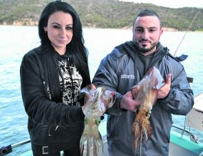 These two squid were taken home for a feed. I did use the heads for kingfish bait though!