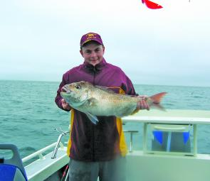 Michael Murray's first snapper – a 5.7kg thumper taken on squid.