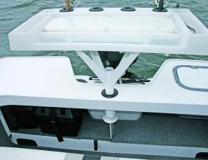 The bait board has space for four rods and tools and can be replaced with an optional ski tow pole.