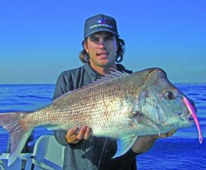 Ben Godfrey with a cracking snapper caught on a Gulp plastic over an inshore reef off the Tweed.