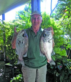 Noel shows off some quality pearlies, which should be fishing well at Barwon Banks and the outside reefs.