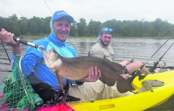 Shane and Dave admire a cracker 70cm saratoga caught on a TT Lures Vortex spinnerbait.