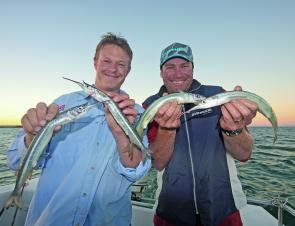 Jarrod and Gawaine enjoying a smile and some quality garfish taken from the Middle Spit.