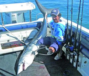 Aaron Sammut with his first mako shark from Bass Strait.