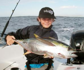 Daniel Hollis trolled up this yellowfin tuna in Laguna Bay on his birthday!