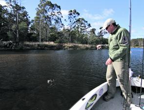 Simon Hedditch hooked up on a small Scamander bream.