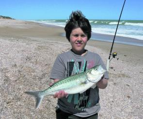 Curtis with a salmon he caught at the 42 Mile crossing on the Coorong.